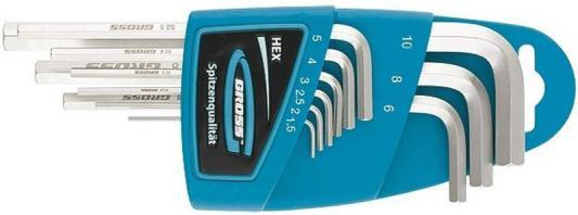 Набор ключей GROSS 16404 имбусовых hex 1.5–10мм s2 9шт экстра-длин с шаром сатинированные цена
