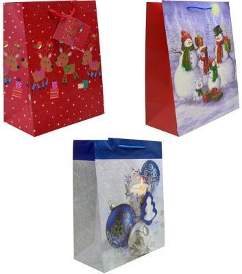 Пакет подарочный ламинированный, 260*324*127 мм, с блест.крошкой, 3 вида фото