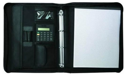 Папка-портфель на молнии, блокнотом и калькулятором, кольцевым мех., кожзам, 350х280мм, черная IPF460IBK папка с блокнотом vernazza черная