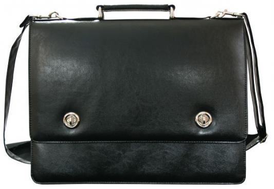 Портфель на 2 замках, карман на молнии, 400х310мм, кожзам, черный портфель на замке с ремешком 2 отд накл карман на молнии 420х300мм кожзам коричневый