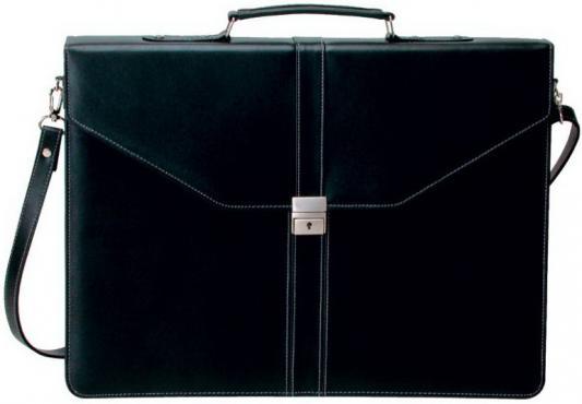 Портфель на замке, с ремешком, 2 отд., 420х305мм, кожзам, черный портфель на замке с ремешком 2 отд накл карман на молнии 420х300мм кожзам коричневый