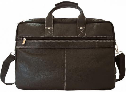 Портфель-сумка , кожа, коричневый, разм. 41х10х32 см цена и фото