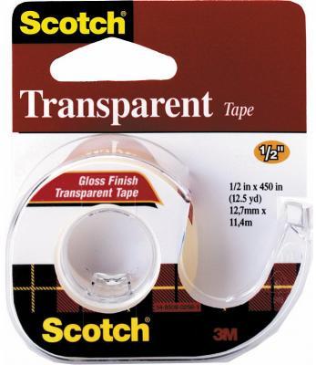 Лента клейкая SCOTCH TRANSPARENT* 144, на диспенсере, прозрачная, 12,7 ммх7,62 м
