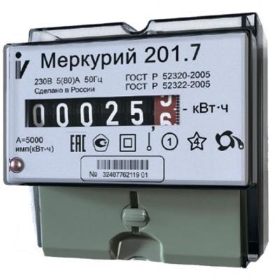 Счетчик электроэнергии ИНКОТЕКС МЕРКУРИЙ 201.7 1ф 5-60А 1 класс точн. 1 тариф. имп. вых. мех. Табло
