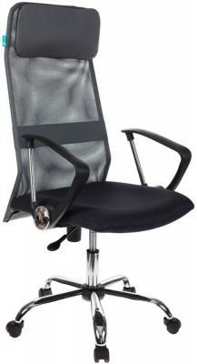 Кресло руководителя Бюрократ KB-6SL/DG/TW-12 серый TW-04 TW-12 сетка крестовина хром кресло для офиса бюрократ ch 799sl dg tw 12 спинка сетка темно серый сиденье серый tw 12 крестовина хром