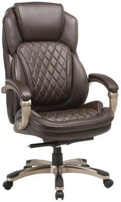 цена Кресло руководителя Бюрократ T-9915/BROWN коричневый рец.кожа/кожзам (пластик золото) в интернет-магазинах