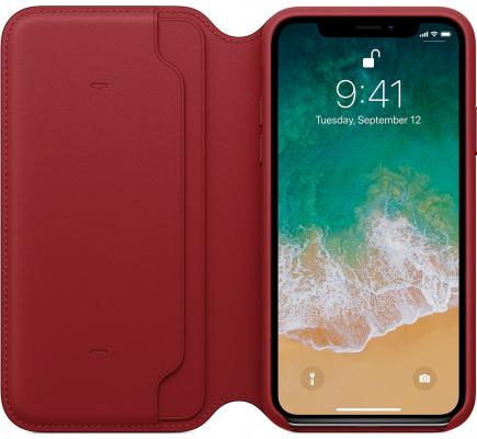 Чехол-книжка Apple Folio для iPhone X красный MRQD2ZM/A чехол книжка guess iridescent для apple iphone x серебристый