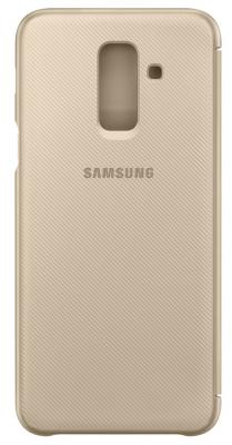 Чехол (флип-кейс) Samsung для Samsung Galaxy A6+ (2018) Wallet Cover золотистый (EF-WA605CFEGRU) чехол флип кейс samsung для samsung galaxy a6 2018 wallet cover фиолетовый ef wa600cvegru