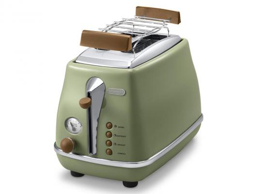Тостер DeLonghi CTOV 2103.GR, 900Вт, на 2 тоста, разморозка, обжаривание, решетка для подогрева, поддон, зеленый