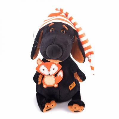 Мягкая игрушка пёс BUDI BASA аксон в колпачке и с лисичкой пластик текстиль искусственный мех черный оранжевый 25 см Vaks25-008