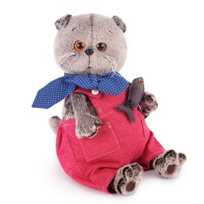 Мягкая игрушка кот BUDI BASA Басик в красном комбинезоне искусственный мех 30 см budi basa мягкая игрушка budi basa кот басик в шелковой пижаме 19 см
