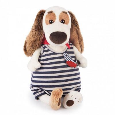 Купить Мягкая игрушка BUDI BASA Bart27-005 Бартоломей в комбинезоне в полоску, белый, коричневый, синий, красный, 27 см, искусственный мех, пластик, текстиль, Животные