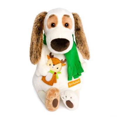 Купить Мягкая игрушка BUDI BASA Bart27-009 Бартоломей в шарфе и с оленем, белый, коричневый, зеленый, 27 см, искусственный мех, пластик, текстиль, Животные