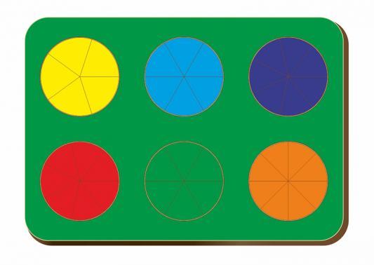 Купить Рамка-вкладыш WOODLAND 061202 Дроби 6 кругов, уровень 2., Развивающие игрушки из дерева
