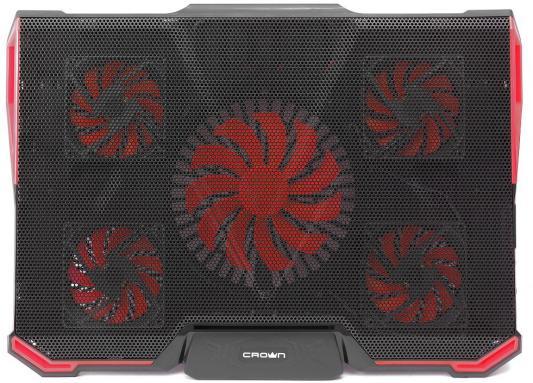 CROWN Подставка для ноутбука CMLS-k330 RED ( до 19 Размер 410*292*29мм , кулеры: D140mm*1+ D80mm*4,,красная led подсветка, регулятор скорости, 7 уровней наклона)