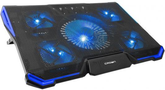 CROWN Подставка для ноутбука CMLS-k331 BLUE ( до 19 Размер 410*292*29мм , кулеры: D140mm*1+ D80mm*4, синяя led подсветка, регулятор скорости, 7 уровней наклона)