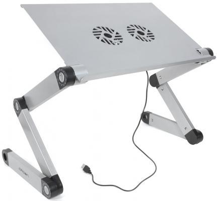 """CROWN Столик для ноутбука CMLS-116G ( до 17"""", размеры панели (Д*Ш): 42*27.5см, регулируемая высота до 48см, два кулера, питание от USB)"""