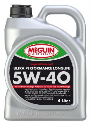 НС-синтетическое моторное масло Meguin Ultra Performance Longlife 5W40 4 л 6486 моторное масло gm dexos2 longlife sae 5w 30 5 л 1942003