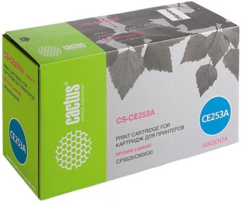Фото - Картридж Cactus CS-CE253AR для HP CLJ CP3525/ CM3530 пурпурный 7000стр тонер картридж cactus cs ce250av черный 5000стр для hp clj cm3530 cp3525