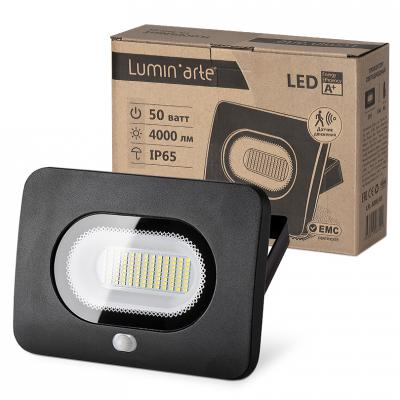 Светодиодный прожектор WOLTA LFL-50/05s с датчиком движения, 5500K, 50 W SMD, IP 65, цвет чёрный, yeelight ночник светодиодный заряжаемый с датчиком движения