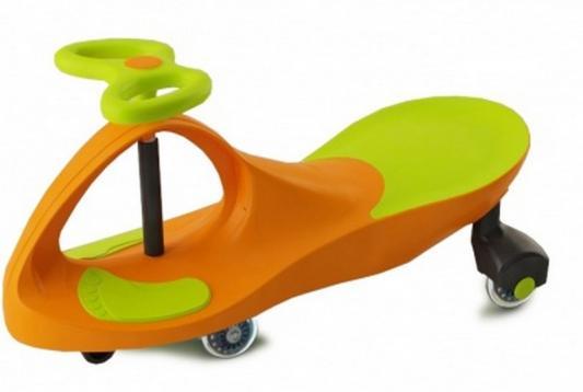 Машинка детская с полиуретановыми колесами салатово-оранжевая «БИБИКАР» Bibicar, new type, orange- green colour, PU wheels вращающийся гриф для тяги сверху параллельным хватом с полиуретановыми рукоятками aerofit g brg 06 pu