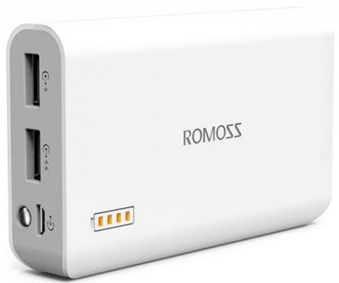 Универсальный внешний аккумулятор для цифровой техники ROMOSS Solo 3 на 6000mAh (22Wh) USB 5V 2.1А / 1A. Белый. romoss sailing 2