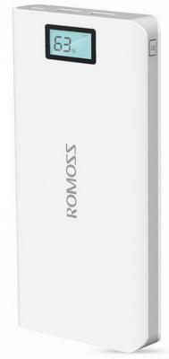 Универсальный внешний аккумулятор для цифровой техники ROMOSS Solo 6 Plus на 16000mAh (59Wh) USB 5V 2.1А / 1A. Белый. romoss sailing 2