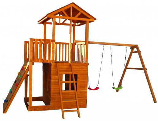 Игровой комплекс Можга Спортивный городок 3  качелями, домиком  балконом СГ3-Р912-Р946-