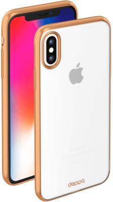 Накладка Deppa Gel Plus Case для iPhone X золотой 85337 накладка deppa gel plus matt gold для iphone 7 plus золотой 85289