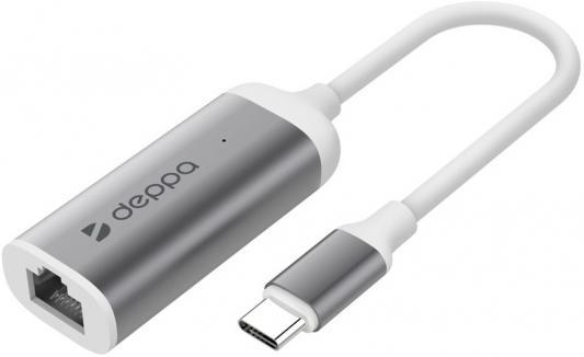 Адаптер Deppa USB Type-C - Gigabit Ethernet, графит, Deppa 3 ports usb 3 0 hub type c thunderbolt 3 to rj45 100mbps gigabit ethernet lan adapter data type c wired network card for macbook