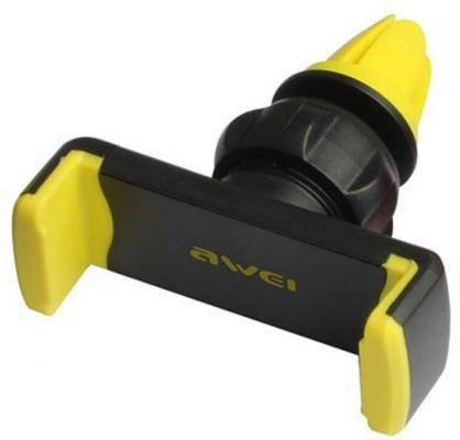 AWEI X1-YEW держатель для телефона, на воздуховод, зажим, черный/желтый держатель awei x6 silver