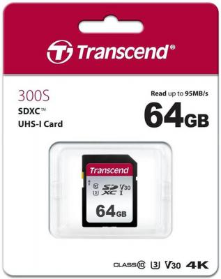 Флеш-накопитель Transcend Карта памяти Transcend 64GB UHS-I U3 SD card TS64GSDC300S