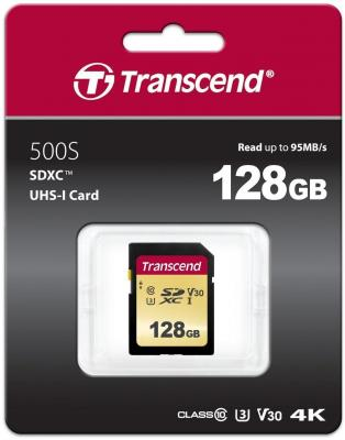 SecureDigital 128Gb Transcend TS128GSDC500S {SDXC Class 10, UHS-I U3, MLC}