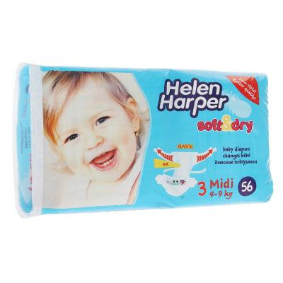 Купить Подгузники Helen Harper Soft Dry midi (4-9 кг) 56 шт., влагопоглощающий, Подгузники и трусики подгузники