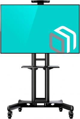 Фото - Мобильная стойка ONKRON на 1 ТВ/ 32-65 от 200х200 до 400х600 наклон 0? поворот 0? макс нагр 45,5кг Высота 1200-1500мм, кабель-канал, регулировка полки по высоте, колесики с блокировкой, черная TS1551 BLACK мобильная стойка под телевизор onkron ts1551 красная