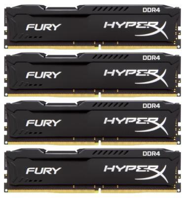 Kingston DDR4 DIMM 64GB Kit 4x16Gb HX424C15FBK4/64 {PC4-19200, 2400MHz, CL15, HyperX Fury Black} dimm ddr4 16гб kingston hyperx fury black hx426c16fb 16