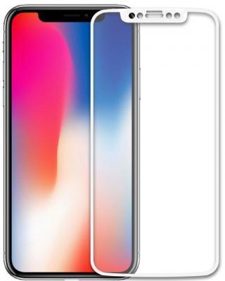 Защитное стекло 2.5D LuxCase 77815 для iPhone X (белая рамка) защитное стекло luxcase для apple iphone x стекло 2 5d full screen белая рамка
