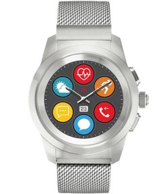 Гибридные смарт часы MyKronoz ZeTime Elite Petite миланский сетчатый браслет цвет матовое серебро, 39 мм цена и фото