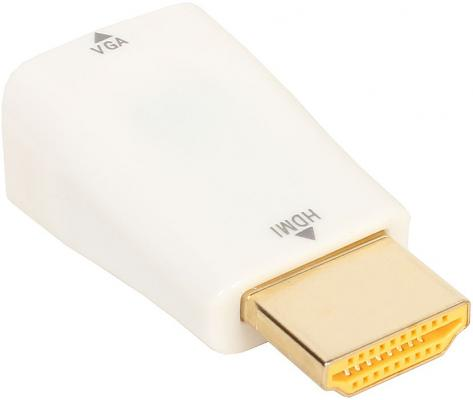Адаптер ORIENT C117, Адаптер HDMI M -) VGA 15F, для подкл.монитора/проектора к выходу HDMI, белый jd коллекция hdmi на vga белый дефолт