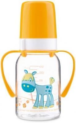 Купить Бутылочка Canpol Cheerful animals трит., с ручк., с сил. соской, 120 мл, 3+, арт. 11/823prz, лошадка, желтый, для мальчика, для девочки, Бутылочки для кормления
