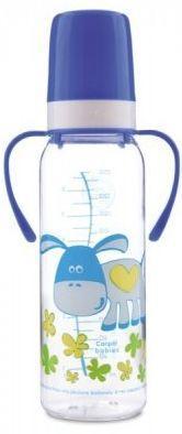 Купить Бутылочка Canpol Cheerful animals тритан., с ручк., сил. соска, 250 мл, 12+, 11/845prz, ослик, фиолетовая, для мальчика, Бутылочки для кормления