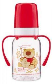 Купить Бутылочка Canpol Cheerful animals трит., с ручк., с сил. соской, 120 мл, 3+, арт. 11/823prz, мишка, красный, для мальчика, для девочки, Бутылочки для кормления