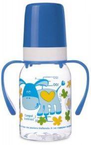 Купить Бутылочка Canpol Cheerful animals трит., с ручк., с сил. соской, 120 мл, 3+, арт. 11/823prz, ослик, синий, для мальчика, Бутылочки для кормления