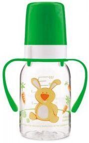 Купить Бутылочка Canpol Cheerful animals трит., с ручк., с сил. соской, 120 мл, 3+, арт. 11/823prz, зайка, зеленый, для мальчика, для девочки, Бутылочки для кормления