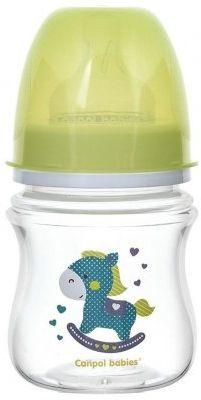 Купить Бутылочка Canpol EasyStart Toys шир. горл., антикол., PP, 3+, 120 мл, арт. 35/220, цвет зеленый, для мальчика, для девочки, Бутылочки для кормления