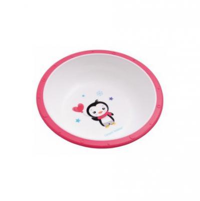 Миска пластиковая Canpol арт. 4/416, 4+ мес., цвет розовый, рисунок пингвиненок