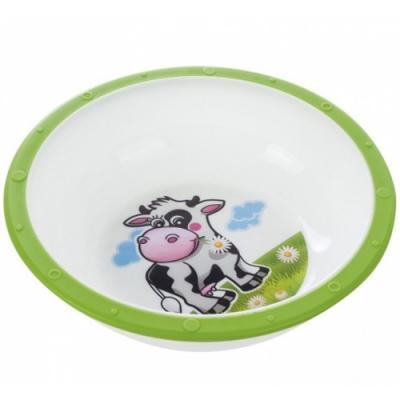 Миска пластиковая Canpol Little cow арт. 4/416, 4+ мес., цвет зеленый, рисунок коровка