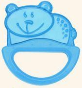 цена Погремушка с эластичным прорезывателем Canpol арт. 13/107, 0+ мес., цвет голубой, форма мишка