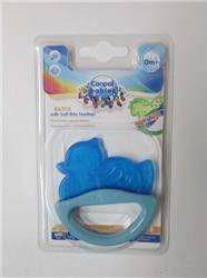 Погремушка с эластичным прорезывателем Canpol арт. 13/107, 0+ мес., цвет голубой, форма уточка термометры для воды canpol уточка 2 781