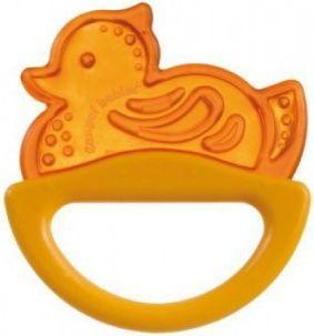 Погремушка с эластичным прорезывателем Canpol арт. 13/107, 0+ мес., цвет желтый, форма уточка canpol babies погремушка рыбка с прорезывателем оранжевый желтый